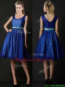 New Arrivals Belted and Laced Blue Dama Dresses in Knee Length