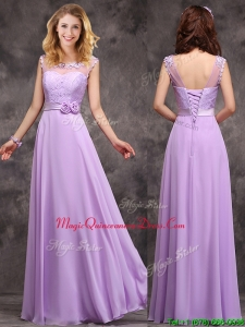 Popular See Through Applique and Laced Dama Dresses in Lavender