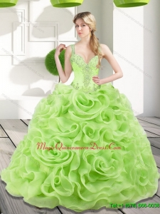 Custom Made Beading and Rolling Flowers Spring Green 2015 Sweet 15 Quinceanera Dresses