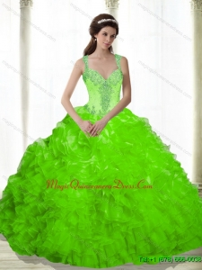 Custom Made Beading and Ruffles Sweetheart Dresses for a Quinceanera in Spring Green