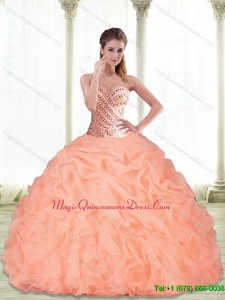 Custom Made Sweetheart Beading and Pick Ups Peach 2015 Quinceanera Dresses