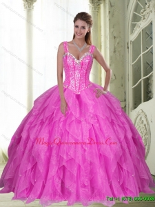 Custom Made Sweetheart Beading and Ruffles Fuchsia Sweet Sixteen Quinceanera Dresses for 2015