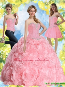 2015 Custom Made Beading Baby Pink Quince Dresses