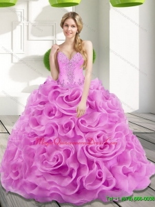 2015 Fashionable Beading and Rolling Flowers Lilac Sweet 15 Quinceanera Gowns