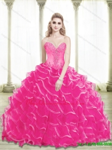2015 Fashionable Beading and Ruffled Layers Sweetheart Quinceanera Gowns in Hot Pink