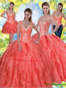 2015 Fashionable Beading and Ruffles Sweet Sixteen Quinceanera Gowns in Coral Red
