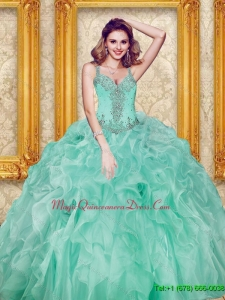 Custom Made Beading and Ruffles Apple Green Sweet 15 Quinceanera Dresses
