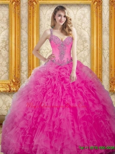 Custom Made Hot Pink Dress for Quinceanera with Beading and Ruffles