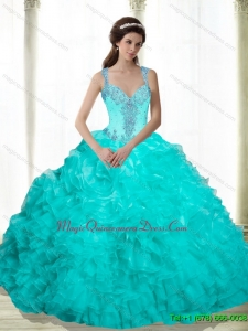 Fashionable Beading and Ruffles 2015 Quinceanera Gowns in Aqua Blue