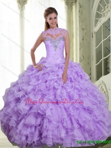 Fashionable Beading and Ruffles Sweetheart Quinceanera Gowns for 2015