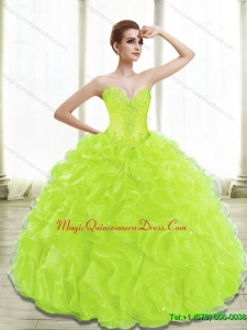 Fashionable Spring Green Lime Green Quinceanera Gowns with Appliques