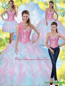 2015 Hot Sale Sweetheart Beading and Ruffles Quinceanera Dresses in Multi Color