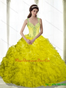 2015 Hot Sale Yellow Beading and Ruffles Sweetheart Dresses for a Quinceanera