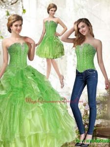 Fashionable Lime Green Quinceanera Gowns with Beading and Ruffles