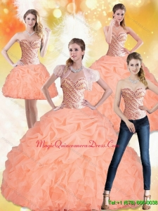 Hot Sale 2015 Sweetheart Peach Quinceanera Dresses with Beading and Pick Ups
