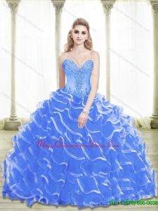 Hot Sale Beading and Ruffled Layers Sweetheart 2015 Blue Quinceanera Dresses