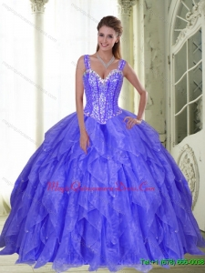 Hot Sale Beading and Ruffles Sweet Sixteen Quinceanera Dresses in Lavender for 2015