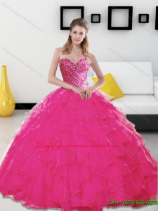 Hot Sale Beading and Ruffles Sweetheart Hot Pink 2015 Quinceanera Dresses