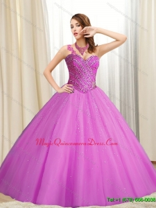 Hot Sale Sweetheart Beading Tulle Fuchsia 2015 Quinceanera Dresses
