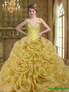 Hot Sale Sweetheart Beading and Rolling Flowers Gold 2015 Quinceanera Dresses