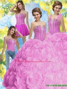 2015 Hot Sale Beading Quinceanera Dresses in Fuchsia