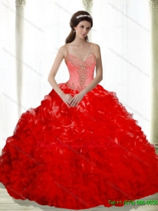 2015 Luxury Beading and Ruffles Sweetheart Red Dresses for a Quinceanera