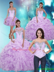 2015 Luxury Sweetheart Quinceanera Dresses with Beading and Ruffles