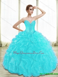 Hot Sale Appliques and Ruffles Aqua Blue Sweet 15 Quinceanera Dresses