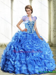 Hot Sale Royal Blue Sweet 15 Quinceanera Dresses with Beading and Ruffles