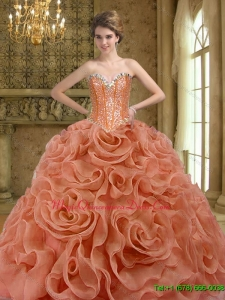 2015 Luxury Beading and Rolling Flowers Rust Red Quinceanera Dresses