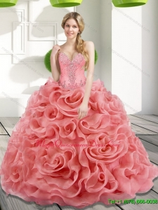 Luxury Beading and Rolling Flowers 2015 Watermelon Sweet 15 Quinceanera Dresses