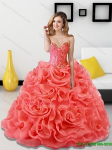 Luxury Beading and Rolling Flowers Coral Red Sweet 15 Quinceanera Dresses for 2015