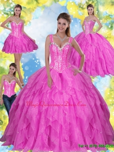Luxury Beading and Ruffles 2015 Fuchsia Sweet Sixteen Quinceanera Dresses