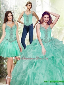 Luxury Beading and Ruffles Quinceanera Dresses in Apple Green