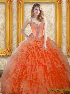 Luxury Orange Red Quinceanera Dress with Beading
