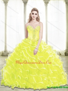 Luxury Sweetheart Beading and Ruffled Layers Yellow Quinceanera Dresses