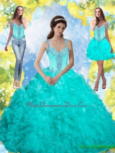 Puffy 2015 Beading and Ruffles Quinceanera Gowns in Aqua Blue