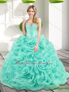Puffy Beading and Rolling Flowers 2015 Sweet 15 Quinceanera Gowns in Aqua Blue