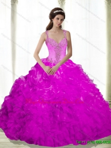 Puffy Beading and Ruffles Sweetheart Fuchsia 2015 Gowns for a Quinceanera