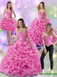 Puffy Rose Pink 2015 Sweet 15 Quinceanera Gowns with Beading and Rolling Flowers