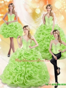 Puffy Spring Green 2015 Sweet 15 Quinceanera Gowns with Beading and Rolling Flowers