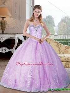 Puffy Sweetheart 2015 Quinceanera Dresses with Beading and Appliques