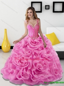 2015 Romantic Beading and Rolling Flowers Rose Pink Sweet 15 Quinceanera Dresses