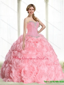 Puffy Baby Pink Sweet 15 Quinceanera Gowns with Beading for 2015