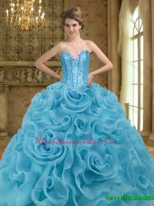 Puffy Beading and Rolling Flowers Baby Blue 2015 Quinceanera Gown