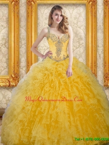 Puffy Beading and Ruffles Quinceanera Gowns for 15 in Yellow
