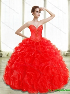 Puffy Beading and Ruffles Red Quinceanera Gowns