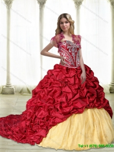 Puffy Embroidery Sweet 15 Quinceanera Gowns in Wine Red and Yellow