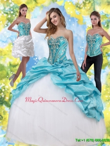 Puffy Sweet 15 Quinceanera Gowns with Embroidery and Pick Ups