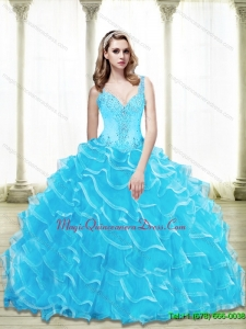 Puffy Sweetheart 2015 Quinceanera Gowns with Beading and Ruffled Layers